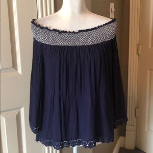 Super cute blue and white off the shoulder top